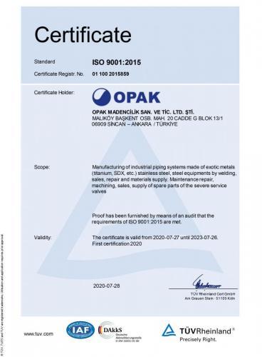 OPAK MADENCİLİK ISO 9001 EN